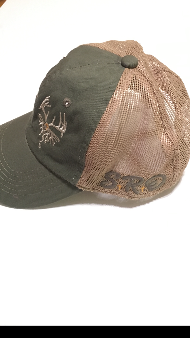 730ef0147 Southern Roots Outdoors/ Antlers Olive / Tan Trucker Hat Unstructured